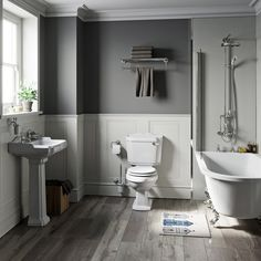 The Bath Co. Winchester freestanding shower bath suite with grey oak effect seat Traditional Toilets, Traditional Bathroom, Freestanding Bath With Shower, Space Saving Baths, Winchester, Wooden Toilet Seats, Close Coupled Toilets, Pedestal Basin, Black Toilet