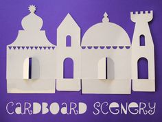 Cereal box scenery For the little builder, here's a great craft for Eid. A silhouette of a mosque from cereal boxes or card boards. People are so creative! Free template on website.