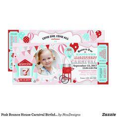 Pink Bounce House Carnival Birthday Invitation Fairy Birthday Party, Circus Birthday, Birthday Cards, Birthday Diy, Birthday Gifts, Happy Birthday, Circus Carnival Party, Carnival Themes, Diy Design