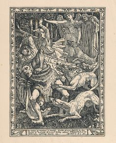 The Hounds. Act 4. Scene 1. Shakespeare's The Tempest, limited edition illustrations by Walter Crane, 1893