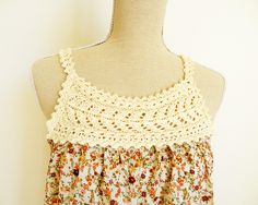 Blouse with the top cut off, crochet yoke applied, TA DA - It's a cute tank top.