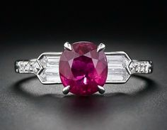 Art Deco Diamond and Ruby Engagement Ring from Lang Antiques $8450