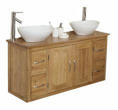 Oak Wall Hung Mounted Bathroom Vanity Sinks Unit Cabinet Basin Bowl MB603-B | eBay