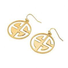 24k Gold Plated Capital 2 Letters Negative Font Monogram Earrings