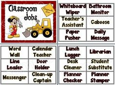 Classroom Student Jobs-Construction Mickey Mouse Theme