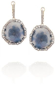 Kimberly McDonald 18-karat rose gold, geode and diamond earrings | NET-A-PORTER $15890