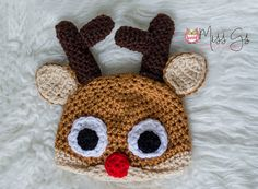 Rudolph the Reindeer Hat Newborn Size by MissGsBoutique on Etsy
