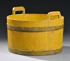 Shaker Yellow-painted Wood Tub, Pittsfield, Massachusetts, authenticated by… Antique Desk, Antique Paint, Yellow Painting, Painting On Wood, Wood Tub, Tubs For Sale, Vintage Milk Can, Old Keys, Vintage Laundry