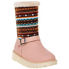 Women's Nordic Monk Strap Flat Cold Weather Mid Calf Snow Boots