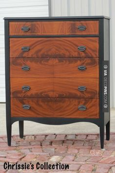Two tone chest in General Finishes Lamp Black, Amber dye stain under Antique Cherry waterbased stain on drawers.  CHECK OUT MORE DRESSER IDEAS AT DECOPINS.COM