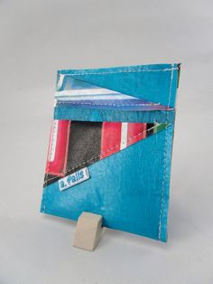 Recycled Plastic Wallet  Handmade  Teal Black and Red by afalls, $12.00
