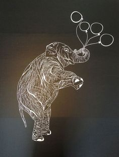 delicate cut paper art illustrations - Elephant by Maude White