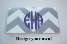Checkbook Cover / Holder / Case   CHEVRON   monogram by Laa766  hand made / custom fabric patterns / designs for you, co-worker, friends / preppy / cute / personalized