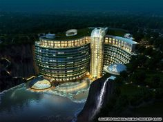 """InterContinental Shimao Wonderland"" in Songjiang China and currently under construction as the world's largest underground hotel (19 stories) built in an old rock quarry....pretty cool"