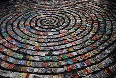 crushed can art projects | of flattened aluminum cans at the Seattle Re-Store's Recycled Art ...