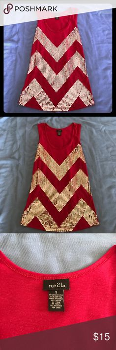 Sequined chevron tank NWOT Cute and chic sparkling sequined Chevron tank. Great for summer with shorts/jeans. Or even a night out! Color is a Deep pink. NWOT Rue 21 Tops