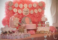 "elephant theme Pink & Grey Elephants / Birthday """"Pink & Grey Elephant Party"""" 