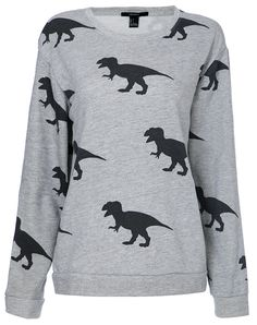 Grey Round Neck Dinosaurs Print Sweatshirt - Sheinside.com