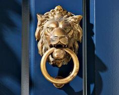 Garage Door, Paint Color And Door Knocker. Navy Blue And Brass Lion  Doorknocker