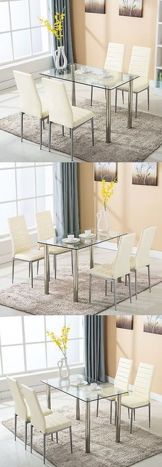 Dining Sets 107578 5 Piece Round Glass Dining Table Set 4 Chairs Best Kitchen Tables And Chairs Design Ideas