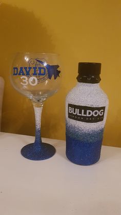 Made for a gift for a man in the RAF, blue & white ombre Gin Bottles, Vodka Bottle, White Ombre, Blue And White, London Dry Gin, 30 Gifts, 30th, Bling, Drinks