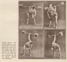 Ett exempel på hur det kunde se ut innan gymmen blev etablerade.Kraftkarlarna kunde visa upp sina färdigheter på scen som kunde vara på en cirkus,varité,större restaurang mm.De tränade oftast under sunkiga förhållande inomhus och gjorde så ofta det tilläts det utomhus