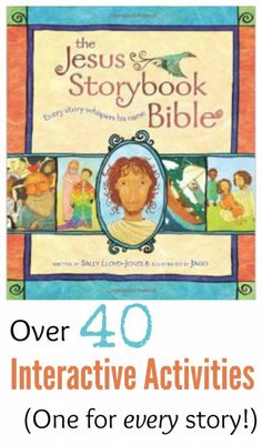 """We LOVE this children's bible! One activity for every story in the awesome """"Jesus Storybook Bible"""". There's crafts, pretend play, object lessons, even science experiments; all meant to bring the pages of the Bible to life! Preschool Bible Lessons, Bible Lessons For Kids, Preschool Sunday School Lessons, Hands On Activities, Preschool Activities, Interactive Activities, Bible Activities For Kids, Bible Story Crafts, Bible Story Book"""
