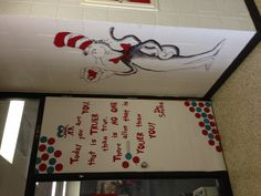 "Dr. Seuss ""The Cat in the Hat"" door decoration."