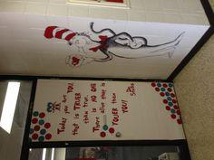 """Dr. Seuss """"The Cat in the Hat"""" door decoration."""