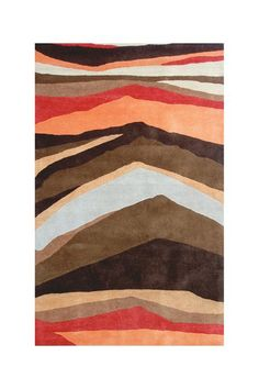 Mara Stripe Wool Rug - Brown/Red by The Rug Market on @HauteLook (color combo)