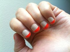 """My $4 investment in the Tangerine Tango trend -- """"Heat Wave"""" by Joe Fresh on top of """"Going Nude, Eh?"""" by Sephora by OPI"""