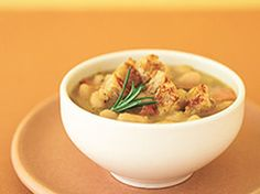 Tuscan White Bean Stew - Serves 6 - Tip  The white beans (cannellini), along with garlic and rosemary or sage, are traditional ingredients in many soups and stews in Tuscany. Serve as a main course with a simple salad of mixed greens.