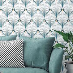 Décor Paon blanc Inspiration Art-Deco
