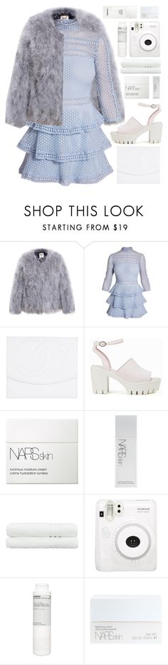 """daydreaming queen♡"" by charli-oakeby ❤ liked on Polyvore featuring Chanel, Nly Shoes, NARS Cosmetics, Linum Home Textiles, Fuji, Korres, happy, love and featureme"