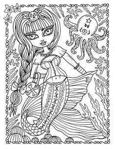 5 Pages Gothic Mermaids Digital Coloring Set Of Digi Stamps Book M