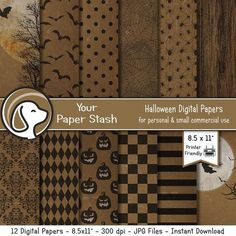 "8.5x11"" Halloween Digital Paper Pack With Distressed Textured Patterns, Spooky Haunted Halloween Digital Scrapbook Papers Instant Download"