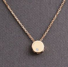 Unique Round G/SI1 14K Yellow Gold Real Diamond Circle Pendant Slide Neclace #Yunji #PendantNecklaceChain