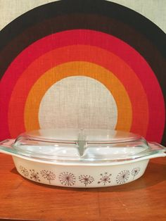 Pyrex Dandelion Duet Covered Casserole Divided Dish, Pyrex Dandelion Divided Serving Dish, 1959 Pyrex Dandelion, Dandelion Flowers, Thistle by CapeCodModern on Etsy