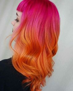 Orange Ombre Hair, Pink And Orange Hair, Yellow Hair Color, Cool Hair Color, Hair Colors, Pink Yellow, Teal Orange, White Hair, Blue Green