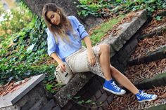 Blue #Converse #Chucks #Chuck Taylor high-tops; #tennis shoes; #trainers; #sneakers