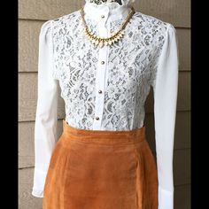 Stunning White Lace High Collard Blouse Gorgeous white lace blouse with Elizabethan style collar & gold buttons, size Medium! Skirt not included, but I offer bundles on multiple items! Tops Button Down Shirts