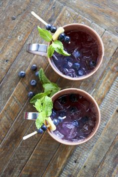 The Garden mule is a fresh take on the Moscow mule. Blueberries, cucumber and mint are muddled, creating a garden-fresh cocktail, perfect for a hot summer day.