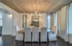 so pretty, rustic driftwood look ceiling and shiny darker floor. I LIKE!