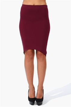 Pointed Pencil Skirt in Burgundy