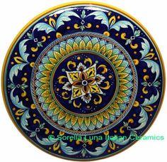 Majolica- Ceramic Decorative plate - Cobalt Blue Medeival style - 42cm