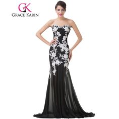 Grace Karin Elegant White Lace Evening Dresses 2017 Luxury Sweetheart Appliques Black Formal Long Mermaid Evening Dresses Gowns