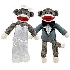 Bride And Groom Sock Monkey Set $25.00