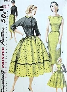 1950s Simplicity 1412 Dress Pattern Slim Figure Hugging Sheath Bateau Neckline or Full Skirted Version Plus Fitted Jacket Simple To Make Bus...
