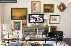 TV Gallery Wall Inspiration- Place decorative objects in front of TV to block view of wires.
