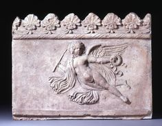 Terracotta Campana relief showing Cupid flying to the right.Culture/period: RomanDate: 20BC-50 | British Museum